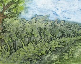 Hawthorn Hedge. Devon headgerow collagraph, unique print.