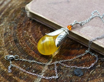 "Sunflower Petals ""Fairy Drop"" Resin Pendant with Silver Metal"