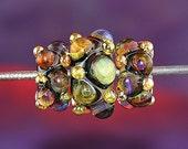 Dawn Thunder Handmade Lampworked Glass Beads OOAK Set of Three Rondelles Amber Gold Purple Black Lampwork