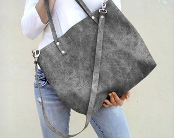 Leather bag/ Leather tote bag/ Women tote bag/ Grey distressed bag