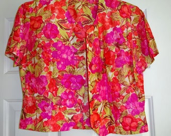 Vintage Blouse Pink Gold Floral Button Front Short Sleeve