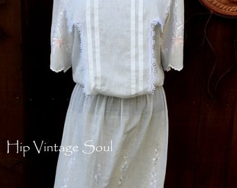 Vintage 1980's Jessica McClintock Dress, Jessica McClintock Summer Dress, Boho, Mod