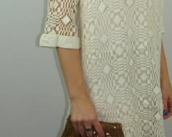 mod IVORY LACE SHIFT dress vintage burt stanley S M