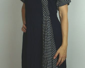 1940's NAVY RAYON DRESS polka dot inset 40's 36 bust