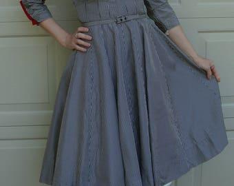 GINGHAM TAFFETA new look DRESS martha gale cartwright S