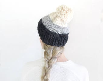 Gray Striped Knit Beanie Womens Hat Pom Slouchy Knitted Hat / Fall Fashion Chunky Winter Accessory Knitwear / Autumn Stylish Toque Tam Hat