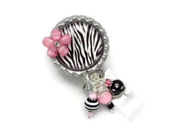 Zebra Badge Reel - Designer Badge Reels - Professional ID Wear - Badge Reel Gifts - Beaded Badge Reels - Badge Reel Jewelry - Beaded Badges