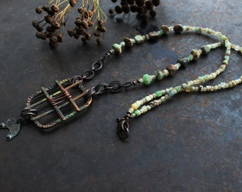 Crescent moon necklace, water green necklace, lunula amulet necklace, norse necklace, rustic handmade copper pendant necklace, viking
