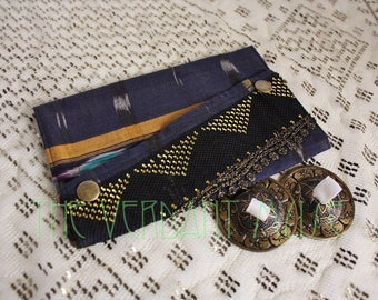 Large Assuit and Sari Scrap Zills Bag- Navy and White Ikat Stripe Cotton Bellydance Finger Cymbals Pouch