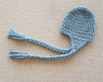 Basic Crochet Newborn Hat with Earflaps and Braids for Baby Girl Baby Boy, Photography Prop, Sizes Newborn and Infant - Azure