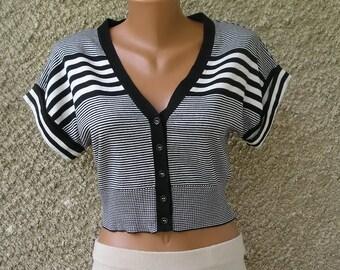 Vintage 90s cotton cropped cardigan top, size S-M
