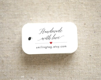 Handmade with Love Personalized Gift Tags - Wedding Favor Tags - Etsy Product Tags - Etsy Shop Labels- Shop Tag- Set of 40 (Item code: J663)
