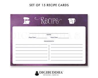 Purple Recipe Cards Gift Set of 15 Ombre Recipe Cards Pack of 15 Watercolor Recipe Cards Gift Set Purple Kitchen Modern Recipe Cards - Kim