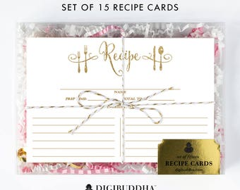 Recipe Cards Gift Set of 15 Recipe Cards Pack of 15 Recipe Cards Gift Set White and Gold Glitter Utensils Kitchen Modern Recipe Cards - Mila