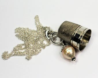 Acorn and Thimble Peter Pan Kisses Necklace in Sterling and Freshwater Pearl