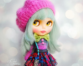 Blythe  Set CANDY CIRCUS By Odd Princess Atelier, Sweater, Skirt, Beret, Hand Knitted Collection