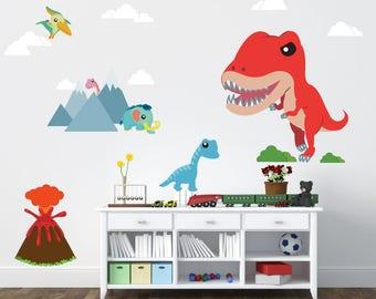 Dinosaur Decals, Boys Decals, REUSABLE Ecofriendly No Toxins No PVCs Decals, WD300