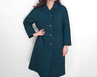 1960s Emerald Coat SHAGMOOR Peter Pan Collar Jungle Green Size Medium