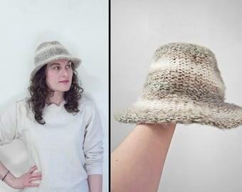 Marbled Wool FEDORA Brown Grey Cream Wool Brim Winter Hat 21 Inches