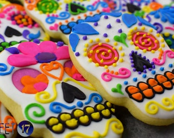 Day of the Dead Skull Sugar Cookies (Set of Six)