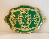 Vintage Large Florentine Tray, Italy, Green and Gold
