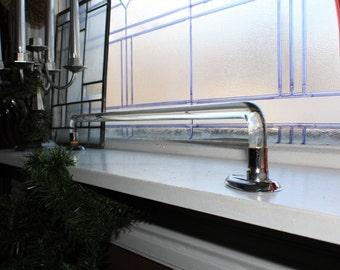 Vintage Glass Towel Rod Towel Bar Clear Glass and Chrome