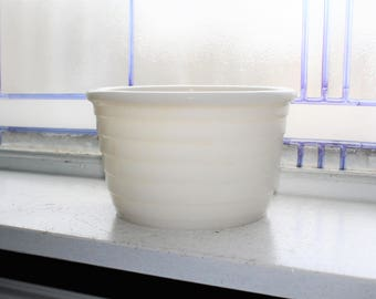 Milk Glass Mixing Bowl Ribbed Vintage 1950s Mid Century