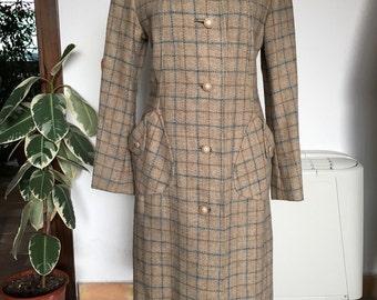 70s tartan wool coat