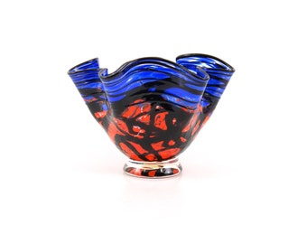 Hand Blown Art Glass Bowl in Blue and Red