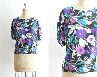 Vintage Purple Floral Top Vintage Hawaiian Shirt Vintage Hawaiian Top Purple Hawaiian Shirt Purple Hawaiian Top 1X XL XXL Plus Size