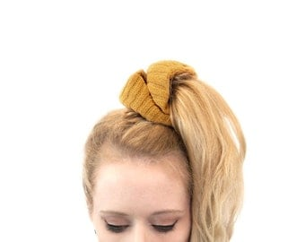 Hair Scrunchie, Ponytail Holder, Mustard Scrunchies Pony Tail PonyTail Wrap, Hair Ties Gift for Her, Best Friend Gift, Teen Gift, Hair Band