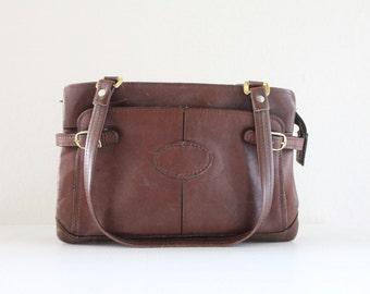 Vintage 1970's Chocolate Leather Handbag