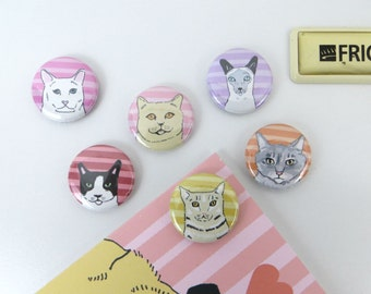 Cat Magnet Pack - Refrigerator Magnet Button Set