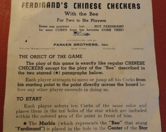 C574)  Original Rules for Ferdinands Chinese Checkers with the Bee 1939 Parker Brothers
