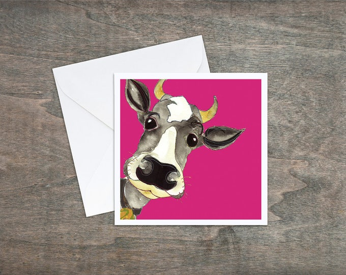 Featured listing image: Pink Cow - Art Card