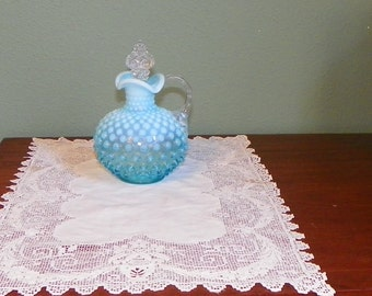 Vintage Fenton CRUET opal Opalescent Hobnail aqua Milk Opal Collectible Glass Pitcher