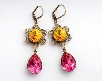 Yellow and Pink Swarovski Crystal Earrings, Pink Rhinestone Flower Earrings, Yellow Crystal Flower Jewelry, Swarovski Earrings Dangle, Eriu