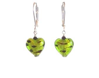 Lampwork Glass Murano Lime Green Leopard Heart Earrings, Leverback Earrings, Small Venetian Heart Earrings, Italian Jewelry, Gift For Her