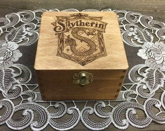 Slytherin House Box - Hogwarts Harry Potter Crest Ravenclaw Gryffindor Hufflepuff Stash Jewelry Treasure Wooden Box - Laser Engraved Hexagon