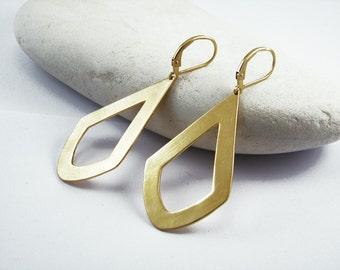 Geometric gold earrings Diamond shape earrings Rhombus statement earrings Long big earrings