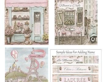 Nursery Prints, Paris Blush Pink Bedroom Decor, Personalized Girl Baby Gift, Shabby Chic, Set Of 3, Eiffel Tower, Laduree, Cafe, 6 Sizes