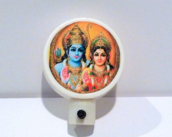 Krishna and Radha Night Light Vintage Hindu God Deity Goddess Lord Krishna Crown Accent Light Boho Hippie Spiritual India 1990s US Plug