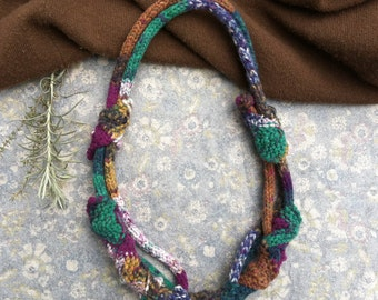 Unique knitted necklace, multicolor rustic jewelry, OOAK fiber necklace, green blue brown purple