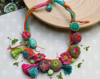 Multi strand colorful statement necklace, fiber art jewelry with crochet, clay and wooden beads and tassels, OOAK