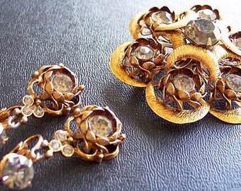 Crescent Brooch Earring Demi Set Smoke Rhinestones Gold Metal High End Vintage