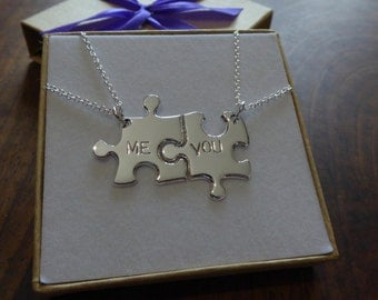 Best Friends Me and You Necklaces Two Silver Puzzle Piece Pendants