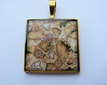 Resin Pendant, Vintage Map, Brown, Beige, Black, White, 1 inch, Square, Unisex