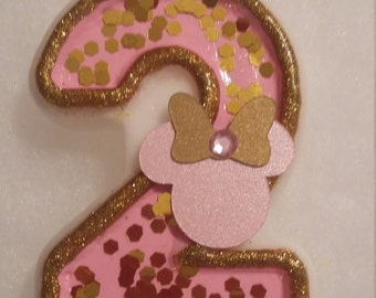 Minnie Mouse Pink and Gold Birthday Number Candle
