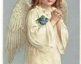 Vintage Embossed Happy Easter Angel Postcard Printed in Germany