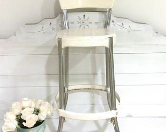 Vintage Metal Stool Cosco Kitchen Stool Step Stool White Metal Farmhouse Stool